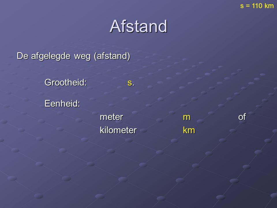 s = 110 km Afstand De afgelegde weg (afstand) Grootheid: s. Eenheid: meter m of kilometer km