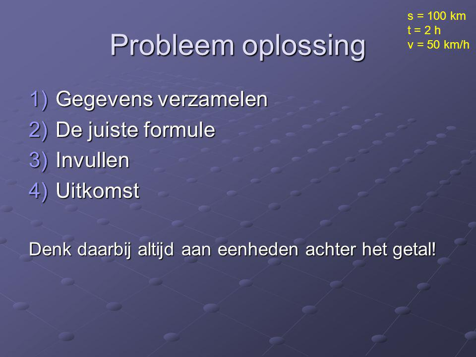 Probleem oplossing Gegevens verzamelen De juiste formule Invullen