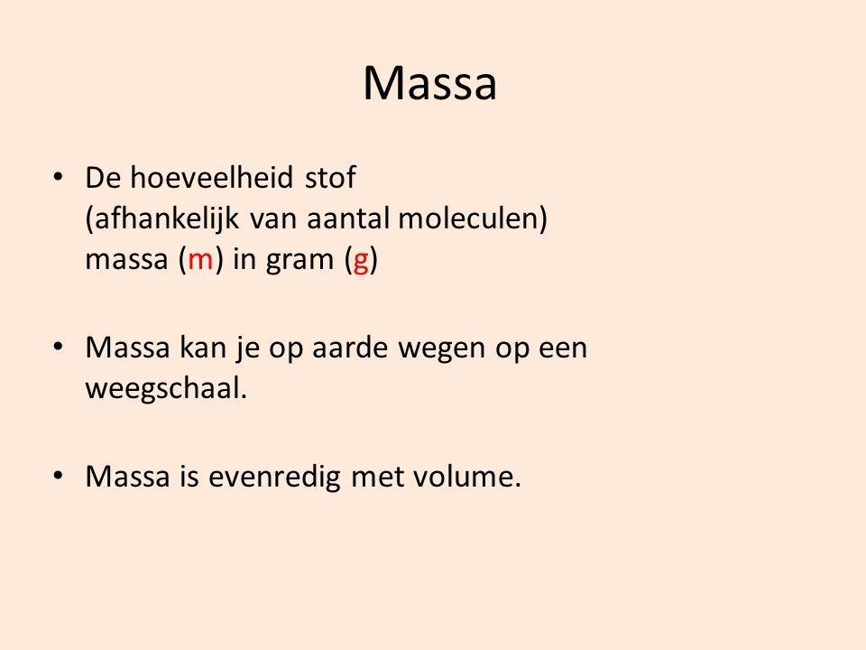 Massa De hoeveelheid stof (afhankelijk van aantal moleculen) massa (m) in gram (g) Massa kan je op aarde wegen op een weegschaal.