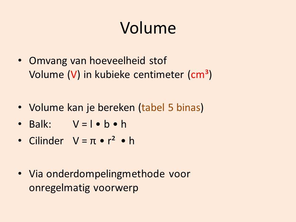 Volume Omvang van hoeveelheid stof Volume (V) in kubieke centimeter (cm³) Volume kan je bereken (tabel 5 binas)