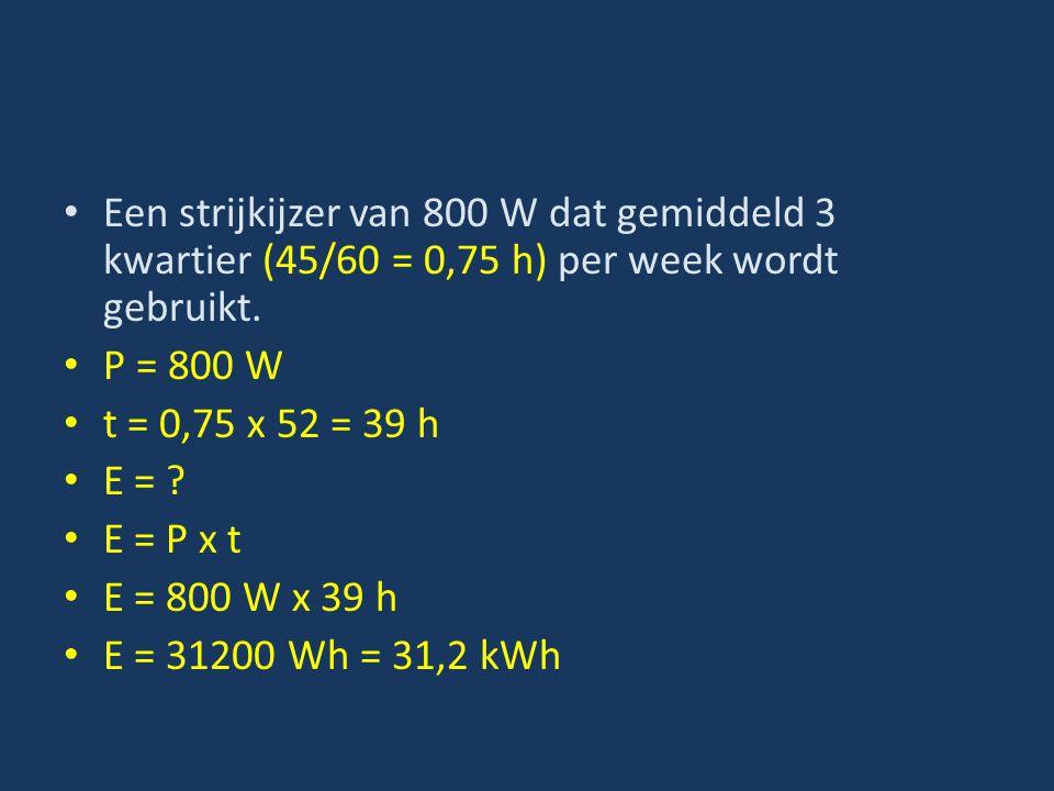 Een strijkijzer van 800 W dat gemiddeld 3 kwartier (45/60 = 0,75 h) per week wordt gebruikt.