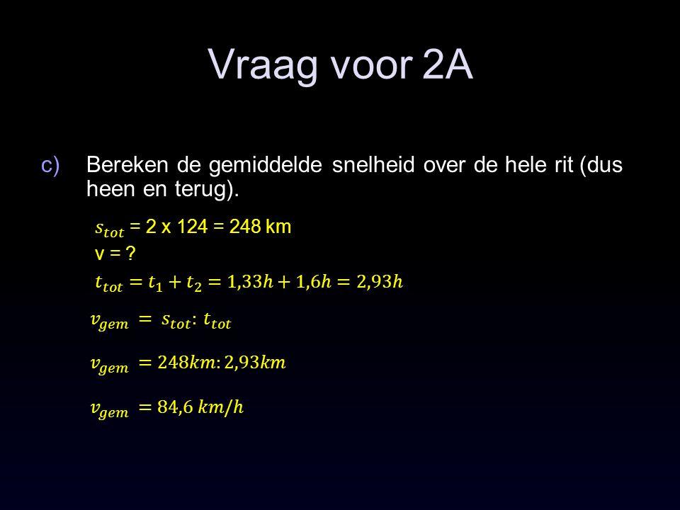 Vraag voor 2A Bereken de gemiddelde snelheid over de hele rit (dus heen en terug). 𝑠 𝑡𝑜𝑡 = 2 x 124 = 248 km.