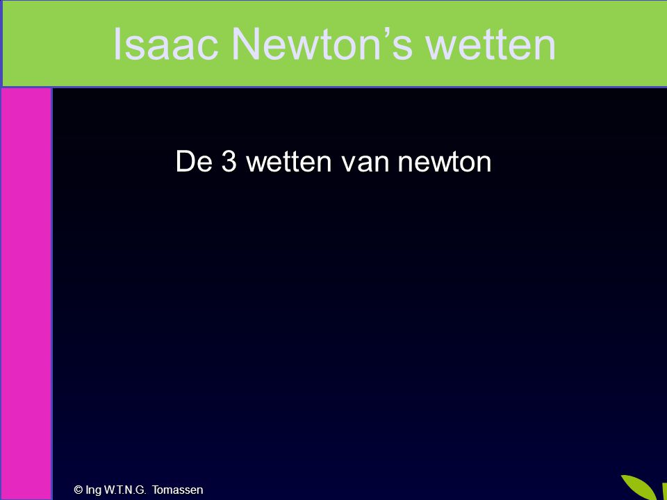 Isaac Newton's wetten De 3 wetten van newton Na deze les kan je: