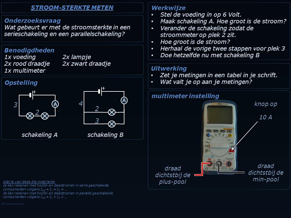 4 3 2 2 3 STROOM-STERKTE METEN Werkwijze Stel de voeding in op 6 Volt.