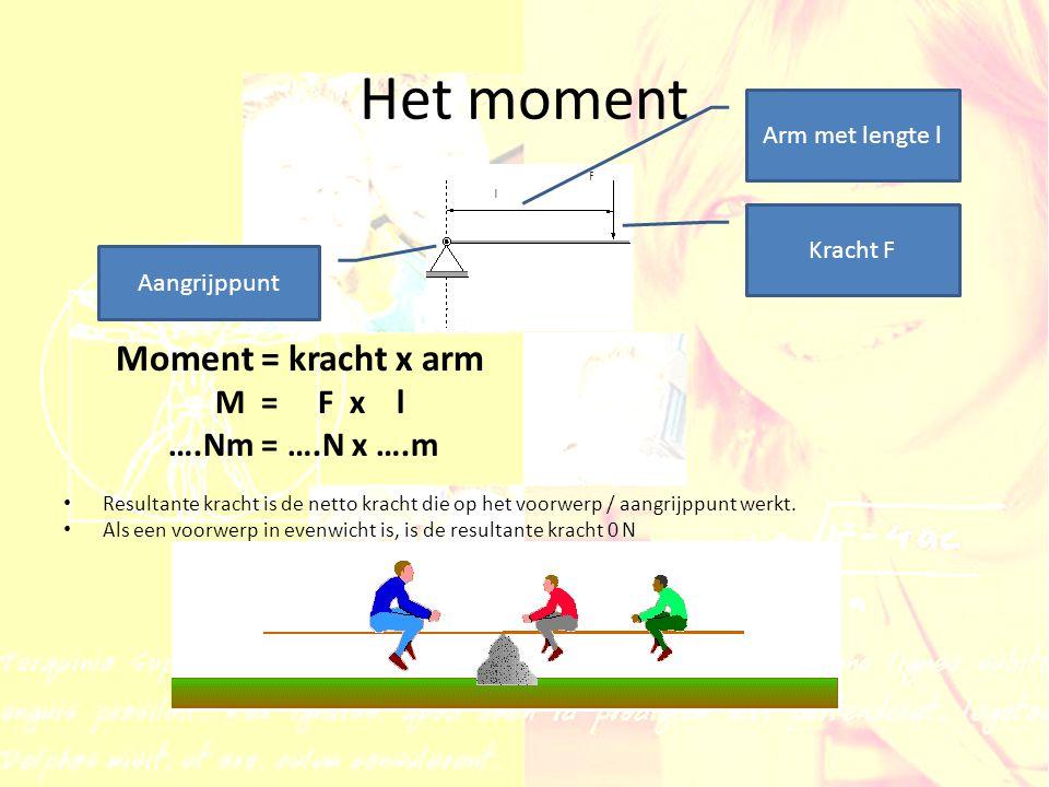 Het moment Moment = kracht x arm M = F x l ….Nm = ….N x ….m
