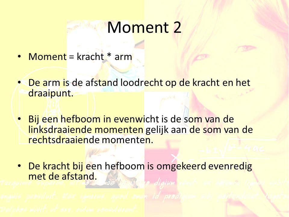 Moment 2 Moment = kracht * arm