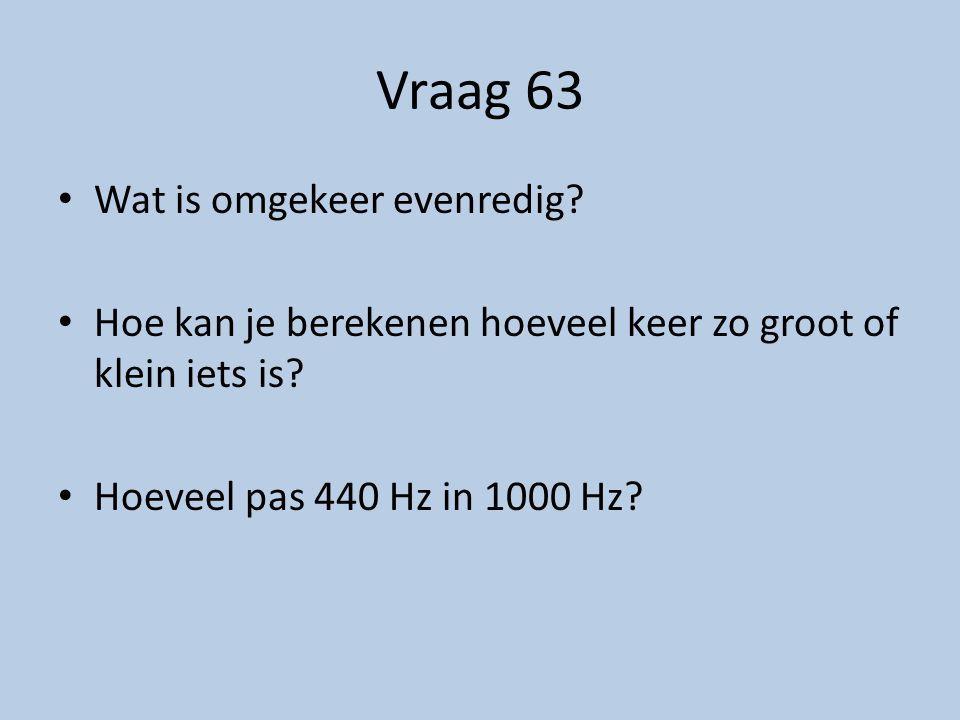 Vraag 63 Wat is omgekeer evenredig