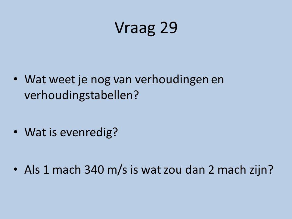 Vraag 29 Wat weet je nog van verhoudingen en verhoudingstabellen