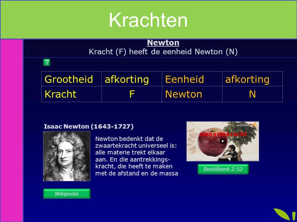 Kracht (F) heeft de eenheid Newton (N)