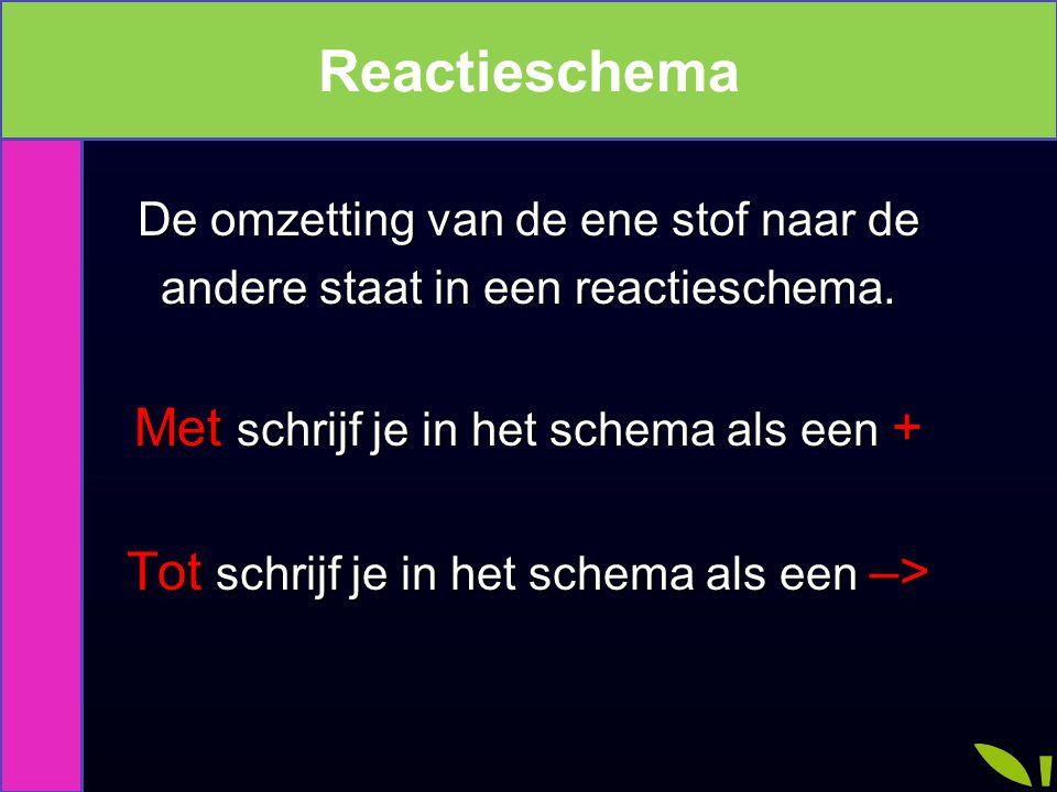 Reactieschema Reactieschema Met schrijf je in het schema als een +