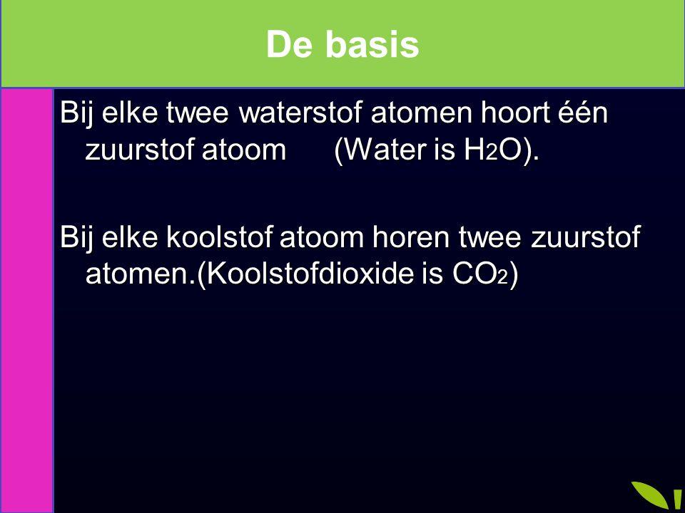De basis De basis. Bij elke twee waterstof atomen hoort één zuurstof atoom (Water is H2O).