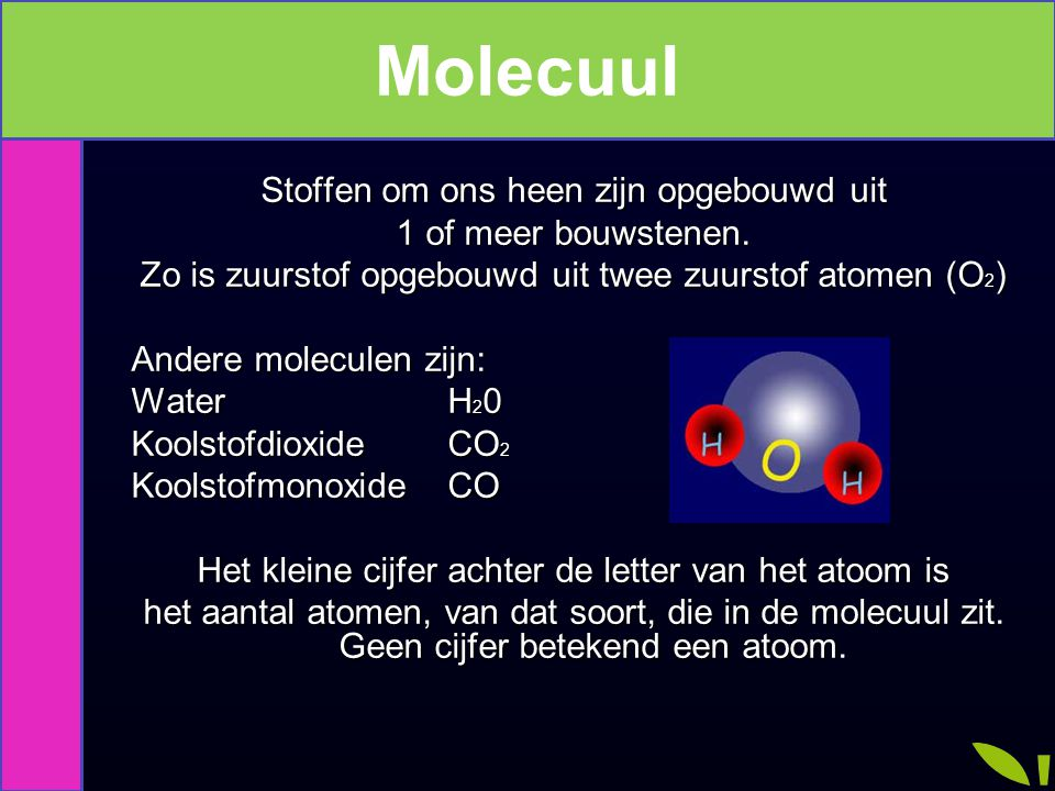 Molecuul Moleculen Stoffen om ons heen zijn opgebouwd uit