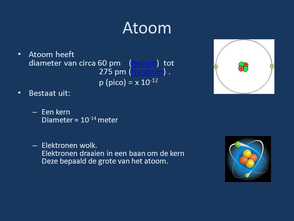 Atoom Atoom heeft diameter van circa 60 pm (helium) tot 275 pm (francium) . p (pico) = x 10-12.