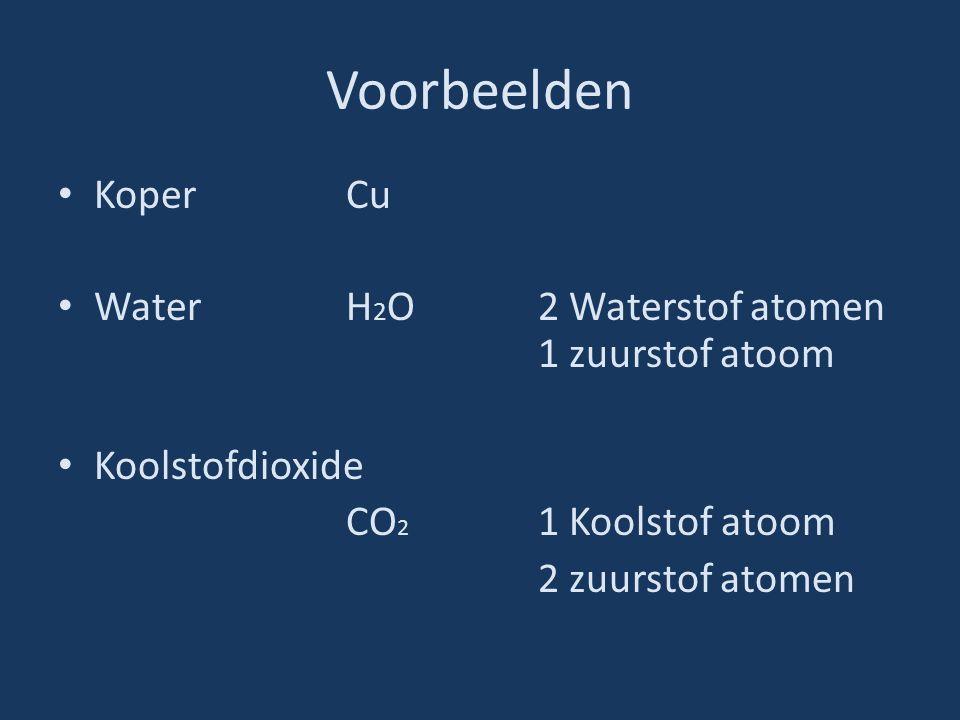 Voorbeelden Koper Cu Water H2O 2 Waterstof atomen 1 zuurstof atoom