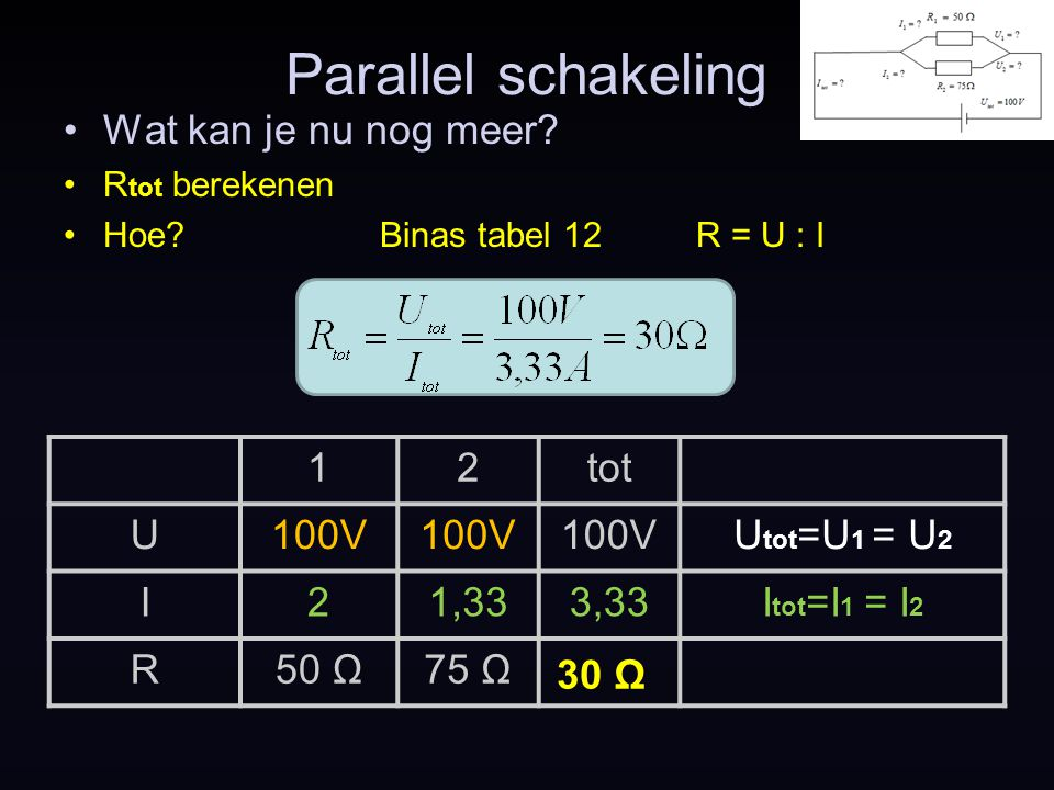 Parallel schakeling Wat kan je nu nog meer 1 2 tot U 100V