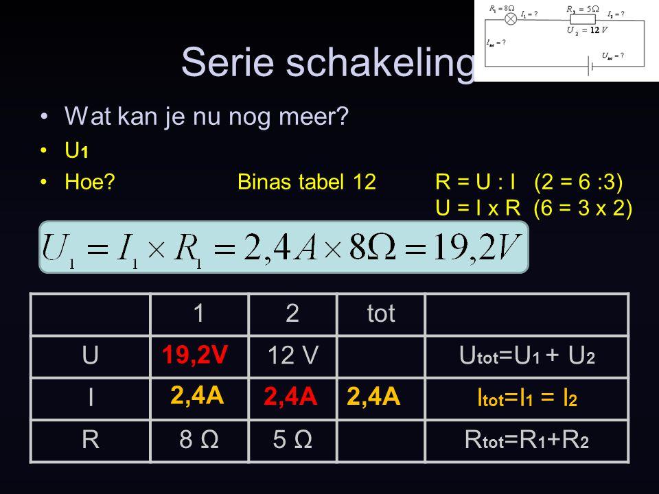 Serie schakeling Wat kan je nu nog meer 1 2 tot U 12 V Utot=U1 + U2 I