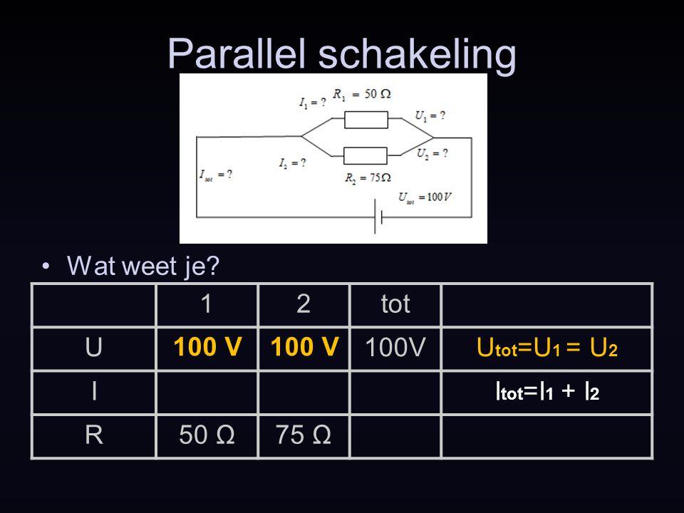 Parallel schakeling Wat weet je 1 2 tot U 100V Utot=U1 = U2 I