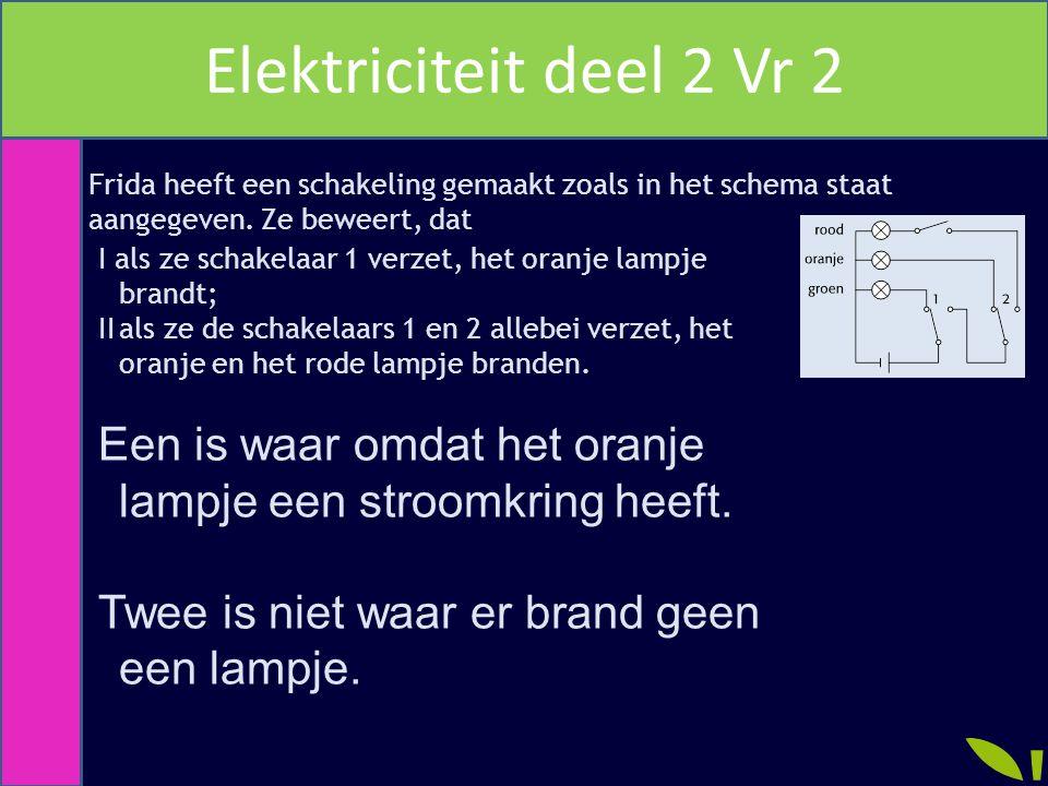 Elektriciteit deel 2 Vr 2 Frida heeft een schakeling gemaakt zoals in het schema staat. aangegeven. Ze beweert, dat.