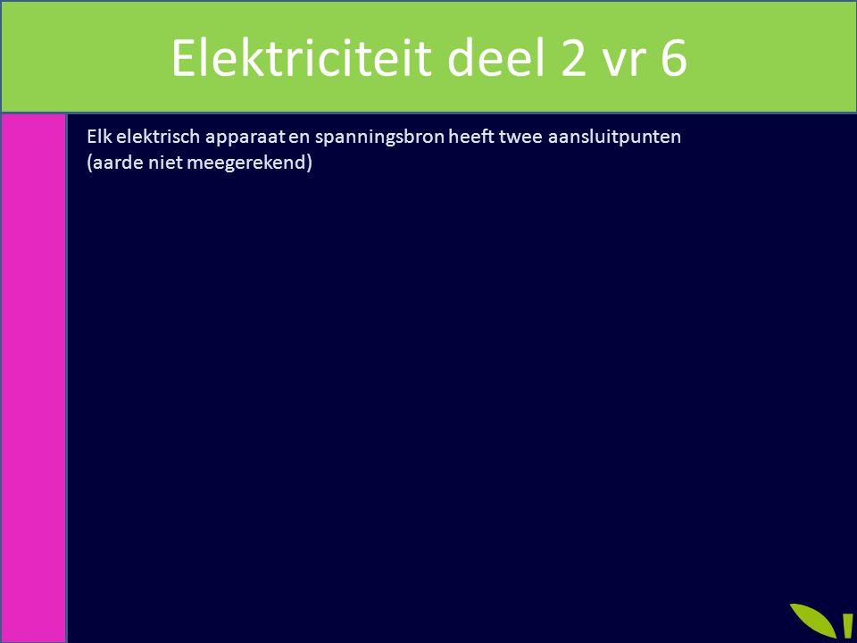 Elektriciteit deel 2 vr 6 Elk elektrisch apparaat en spanningsbron heeft twee aansluitpunten.