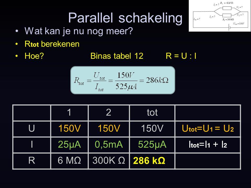 Parallel schakeling Wat kan je nu nog meer 1 2 tot U 150V