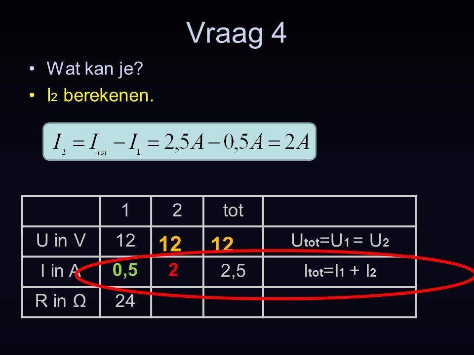 Vraag 4 12 12 Wat kan je I2 berekenen. 1 2 tot U in V 12 Utot=U1 = U2