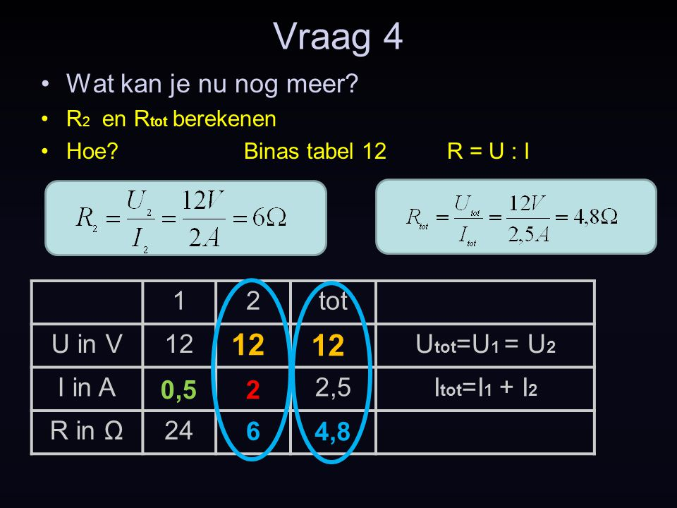 Vraag 4 12 12 Wat kan je nu nog meer 1 2 tot U in V 12 Utot=U1 = U2