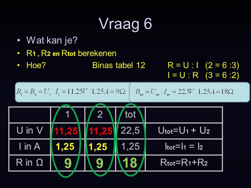 Vraag 6 9 9 18 Wat kan je 1 2 tot U in V 22,5 Utot=U1 + U2 I in A