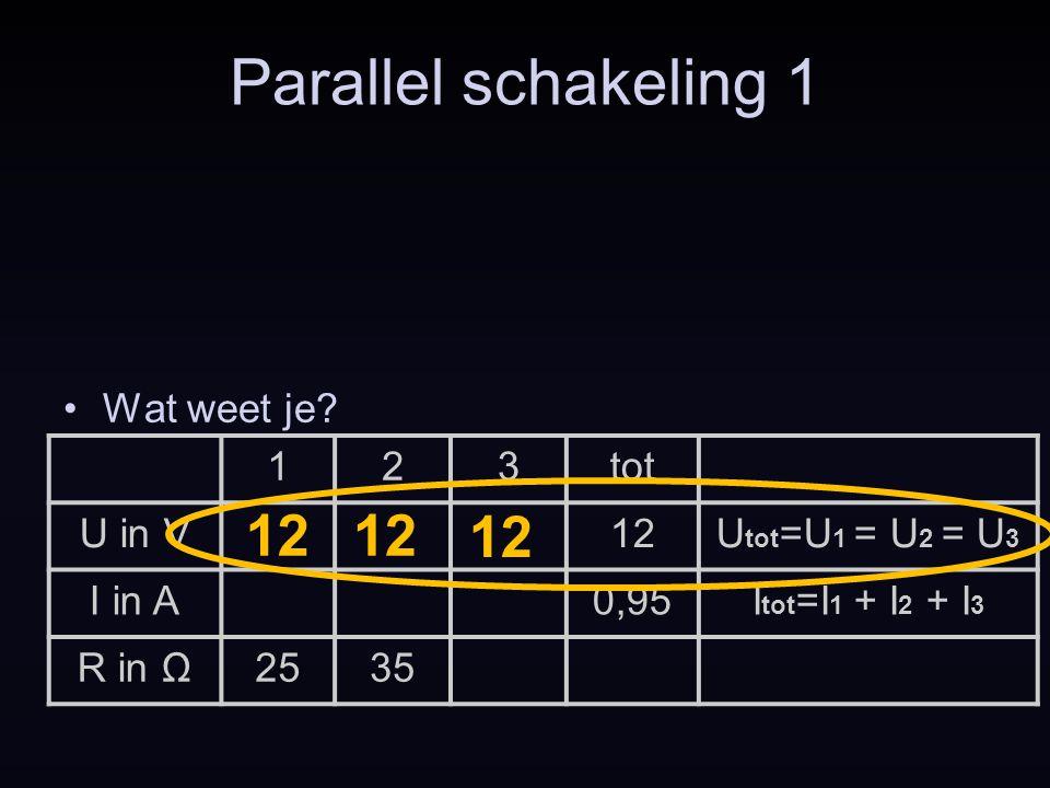 Parallel schakeling 1 12 12 12 Wat weet je 1 2 3 tot U in V 12