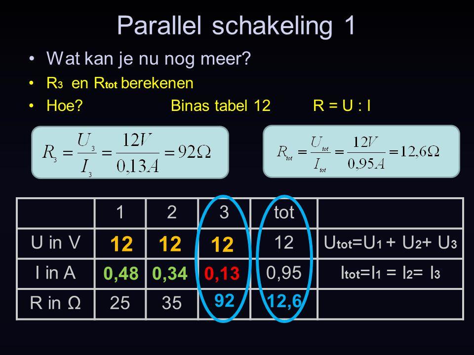 Parallel schakeling 1 12 12 12 Wat kan je nu nog meer 1 2 3 tot