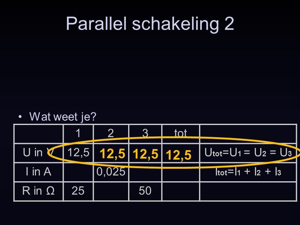 Parallel schakeling 2 12,5 12,5 12,5 Wat weet je 1 2 3 tot U in V
