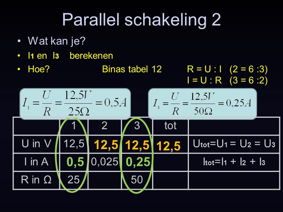 Parallel schakeling 2 12,5 12,5 12,5 0,5 0,25 Wat kan je 1 2 3 tot