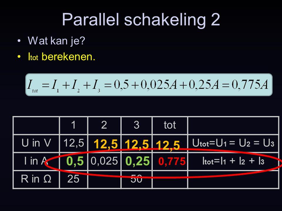 Parallel schakeling 2 12,5 12,5 12,5 0,5 0,25 Wat kan je