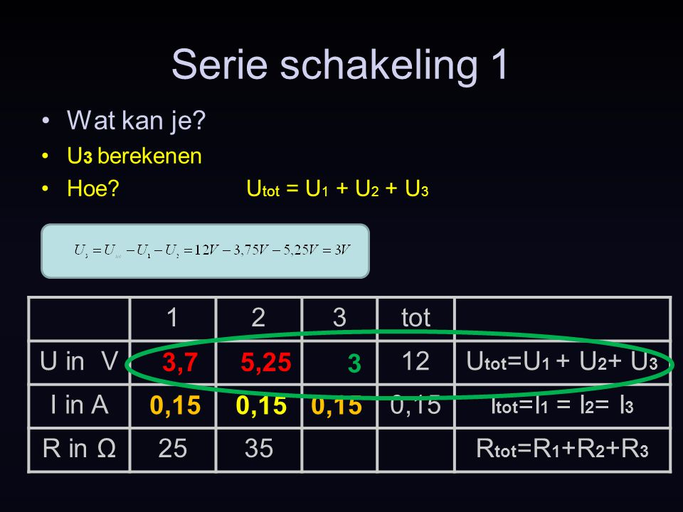 Serie schakeling 1 Wat kan je 1 2 3 tot U in V 12 Utot=U1 + U2+ U3