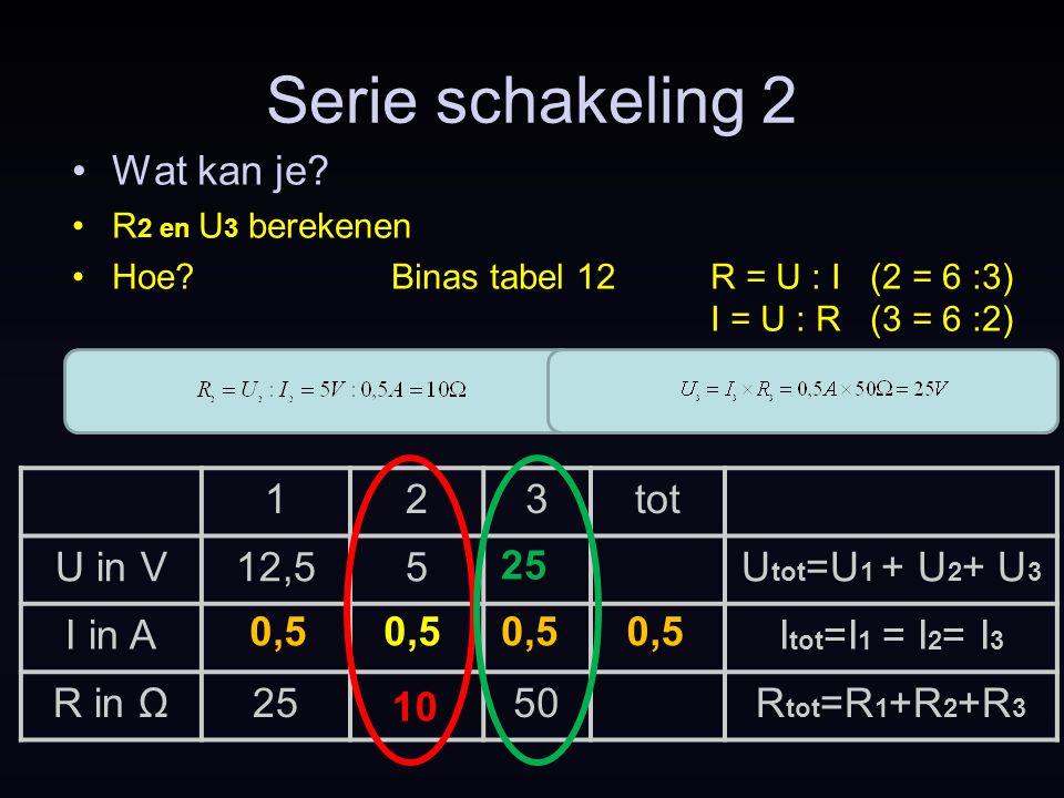 Serie schakeling 2 Wat kan je 1 2 3 tot U in V 12,5 5
