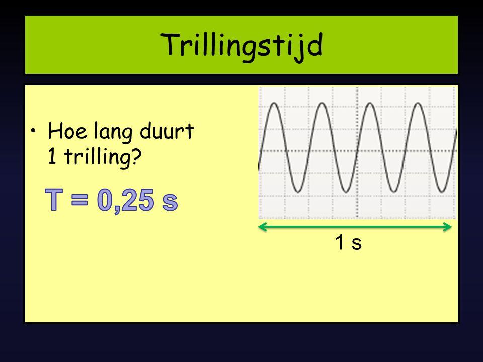 Trillingstijd Hoe lang duurt 1 trilling T = 0,25 s 1 s