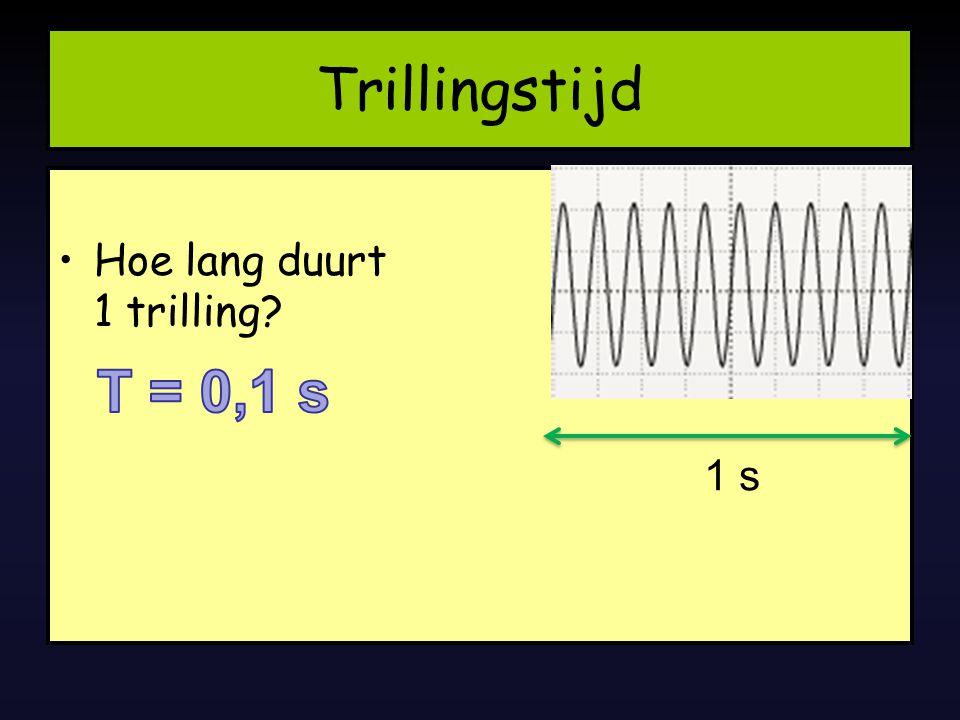 Trillingstijd Hoe lang duurt 1 trilling T = 0,1 s 1 s