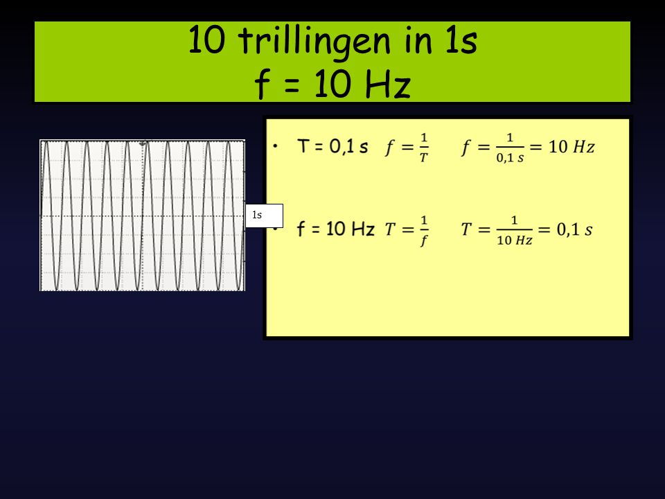 10 trillingen in 1s f = 10 Hz 1s