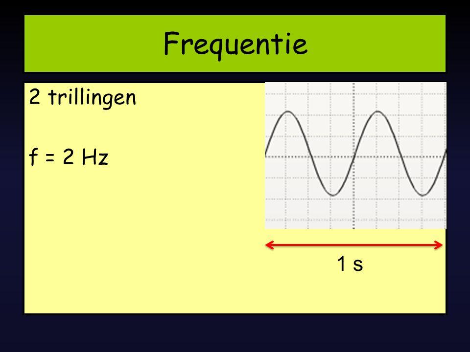 Frequentie 2 trillingen f = 2 Hz 1 s