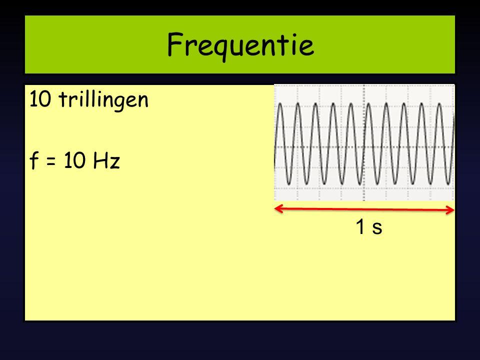 Frequentie 10 trillingen f = 10 Hz 1 s