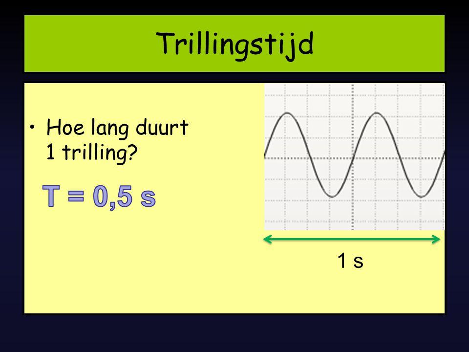 Trillingstijd Hoe lang duurt 1 trilling T = 0,5 s 1 s