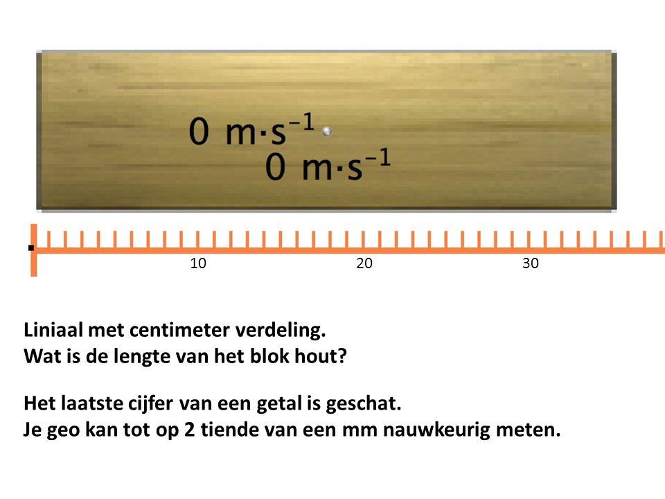 Liniaal met centimeter verdeling. Wat is de lengte van het blok hout