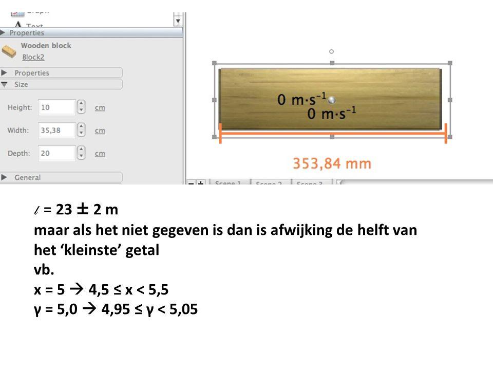 l = 23 ± 2 m maar als het niet gegeven is dan is afwijking de helft van het 'kleinste' getal. vb.