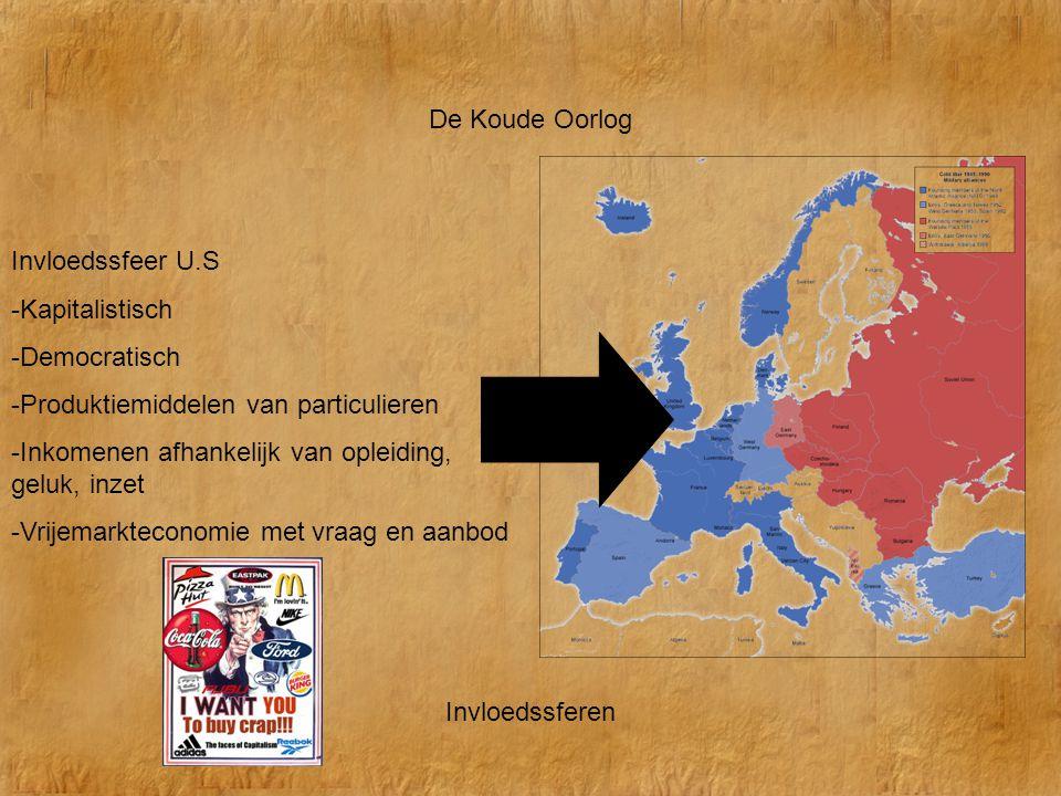 De Koude Oorlog Invloedssfeer U.S. -Kapitalistisch. -Democratisch. -Produktiemiddelen van particulieren.