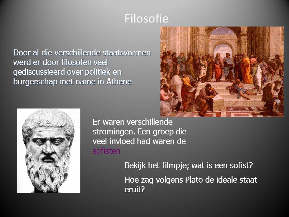 Filosofie Door al die verschillende staatsvormen werd er door filosofen veel gediscussieerd over politiek en burgerschap met name in Athene.