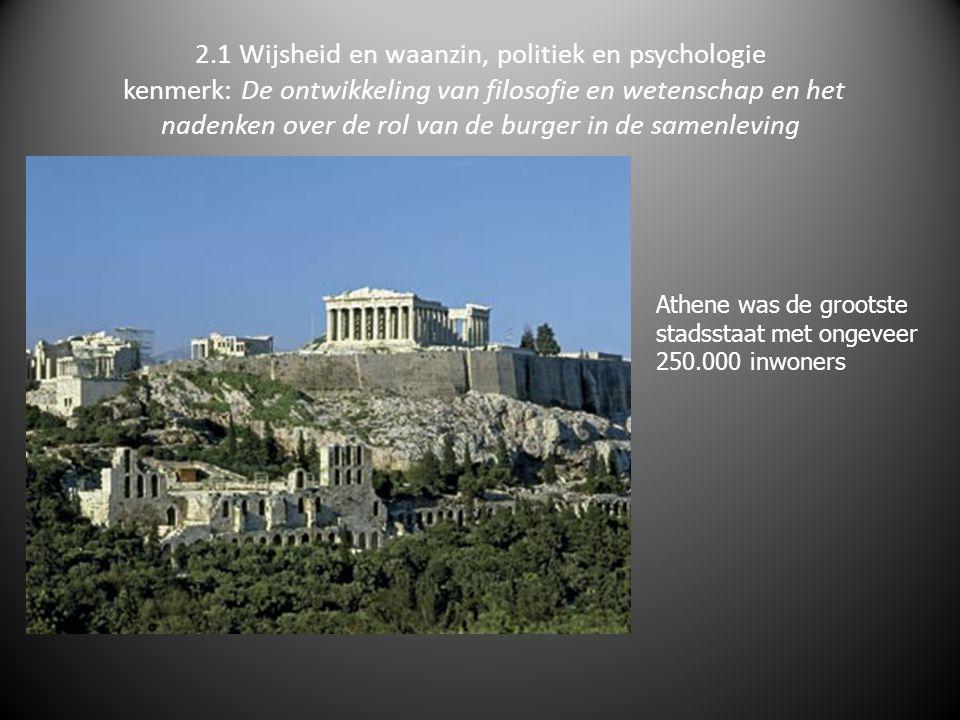 2.1 Wijsheid en waanzin, politiek en psychologie kenmerk: De ontwikkeling van filosofie en wetenschap en het nadenken over de rol van de burger in de samenleving