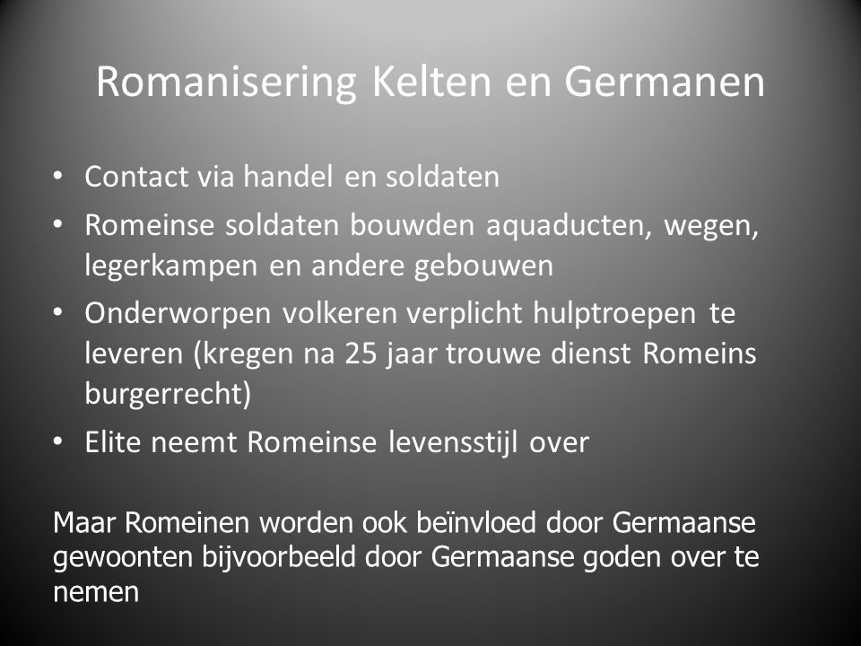 Romanisering Kelten en Germanen