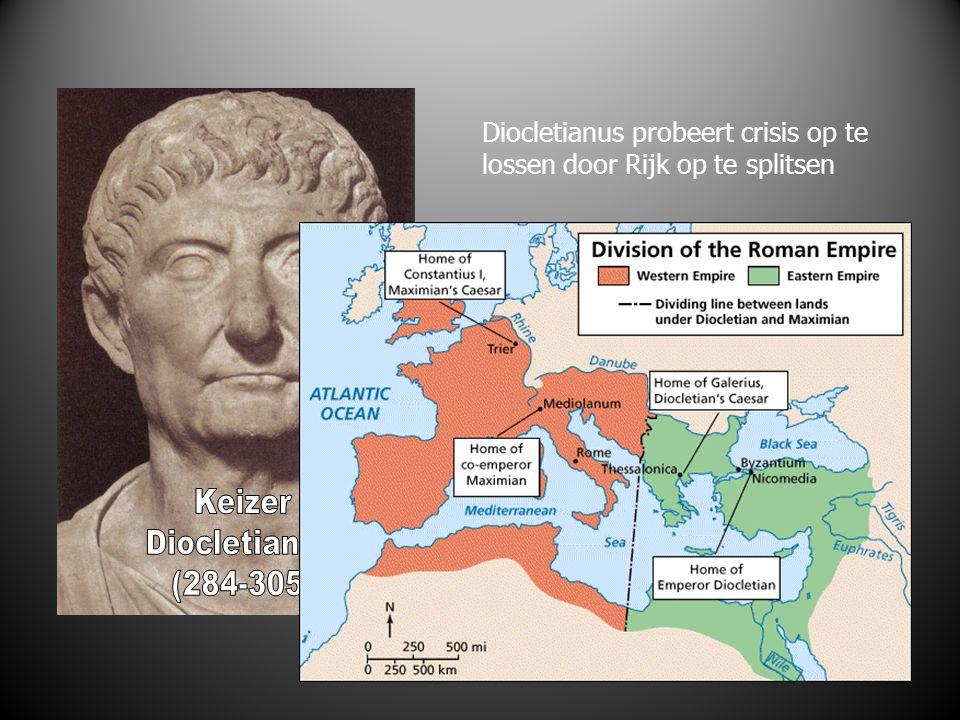 Diocletianus probeert crisis op te lossen door Rijk op te splitsen