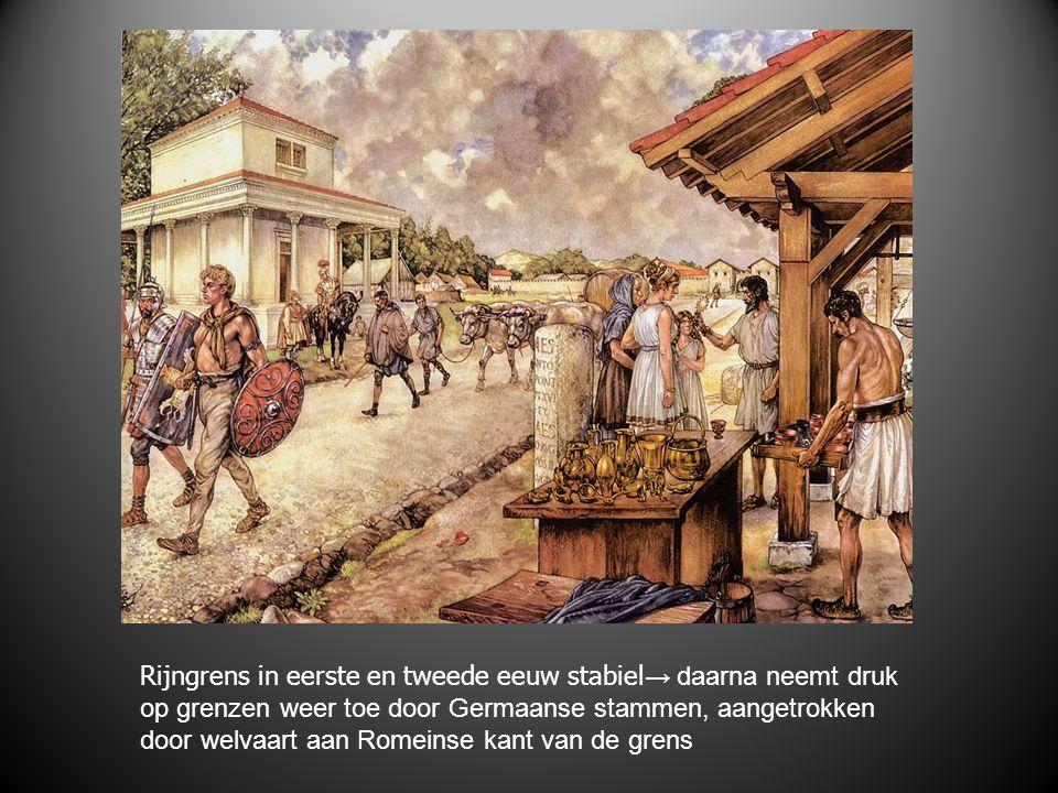 Rijngrens in eerste en tweede eeuw stabiel→ daarna neemt druk op grenzen weer toe door Germaanse stammen, aangetrokken door welvaart aan Romeinse kant van de grens