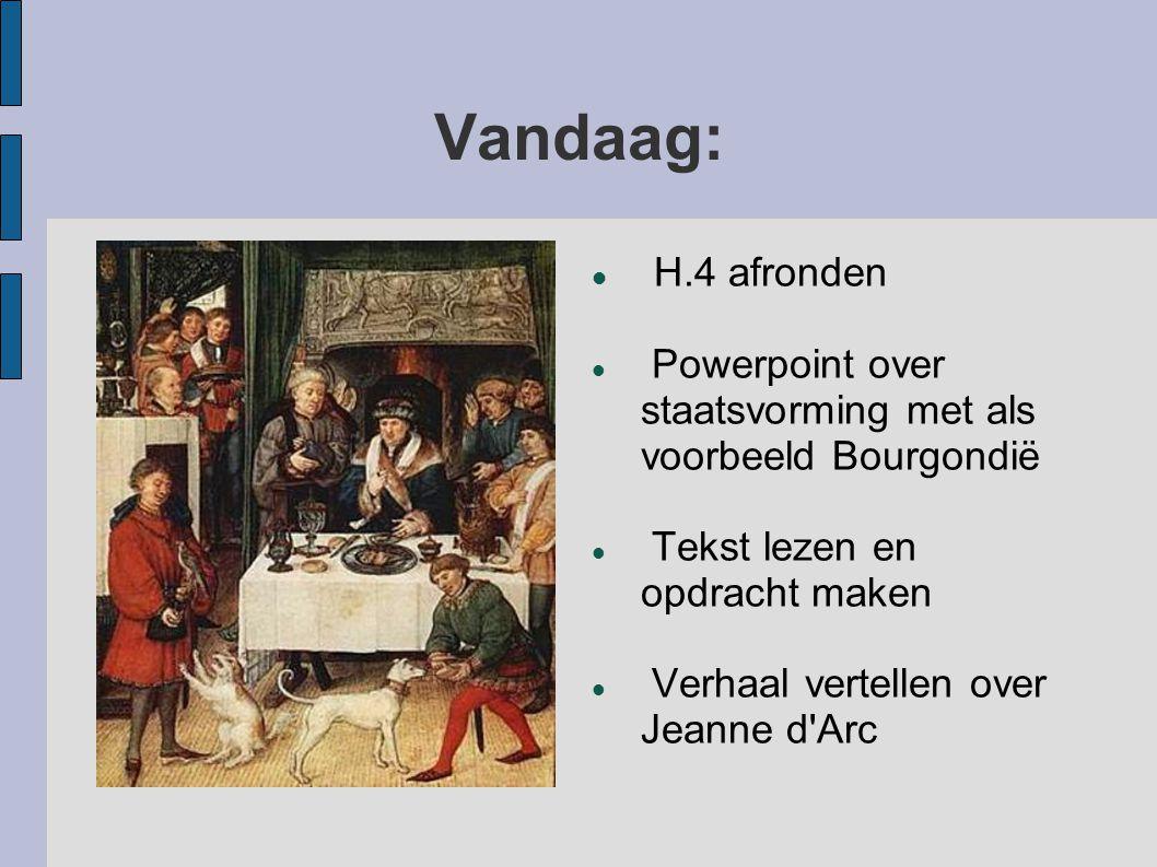 Vandaag: H.4 afronden. Powerpoint over staatsvorming met als voorbeeld Bourgondië. Tekst lezen en opdracht maken.