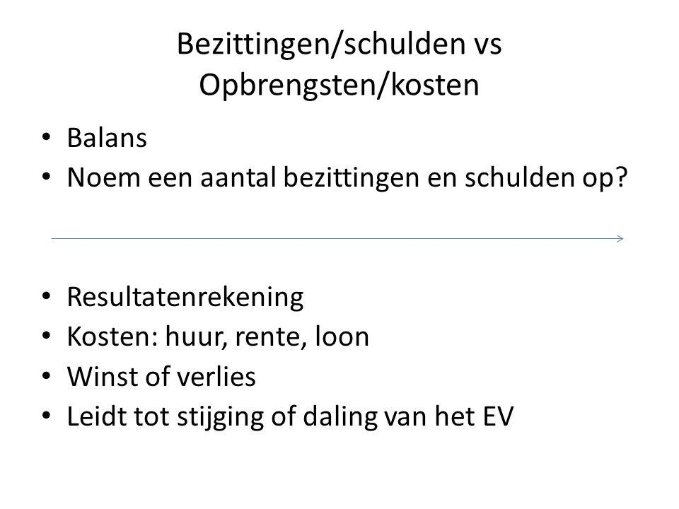 Bezittingen/schulden vs Opbrengsten/kosten